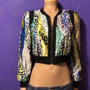 BCBG Short Silk Jacket Top size Small gorgeous